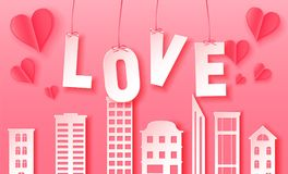 3d abstract paper cut illustration of pink paper town and love letters. Vector colorful template in carving art style. Valentine`s day 3d abstract paper cut vector illustration