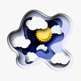 3d abstract paper cut illustration of white clouds and sun. Vector colorful template in carving art style. 3d abstract layered paper cut illustration of white stock illustration