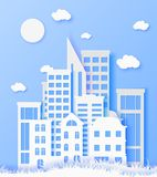 3d abstract paper cut illustration of white paper town. Vector colorful template in carving art style. City concept. 3d abstract paper cut illustration of white Stock Illustration