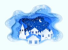 3d abstract paper cut illustration of winter, town, night, church and pines. Vector template Royalty Free Stock Photo