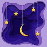3d abstract paper cut night background with moon and stars. Vector template in carving art style. 3d abstract paper cut night background with hanging moon and Stock Photo