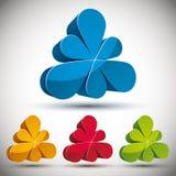 3d abstract pictogram met 6 bloemblaadjes Royalty-vrije Stock Foto
