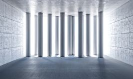 3d abstract pillars. Pillar in concrete room 3d rendering image Royalty Free Stock Images