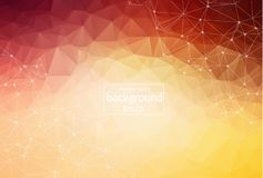 3D Abstract Polygonal Space Orange Background with Low Poly Connecting Dots and Lines - Connection Structure. Futuristic HUD Background vector illustration