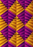 3D abstract pyramids seamless pattern, geometric vector backgrou Stock Image