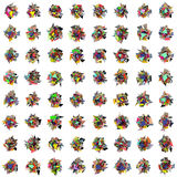 3d abstract rainbow color spiked shape pattern on white Royalty Free Stock Photos