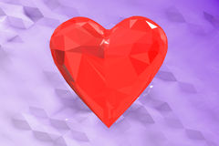 3D abstract red low poly heart background. Abstract red low poly heart background Royalty Free Stock Photos