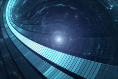 3D abstract science fiction futuristic background. Space travel - Teleport Stock Photo