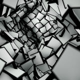 3d abstract shape interior fragmented in black and white. Abstract shape interior fragmented in black and white Stock Images