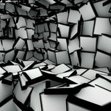 3d abstract shape interior fragmented in black and white Royalty Free Stock Photos