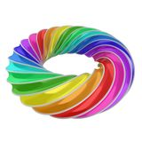 3d abstract shape - rainbow ring. On white Royalty Free Stock Photos