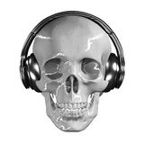 3D abstract skull with headphone. 3D abstract skull with headphone with clipping path Royalty Free Stock Image