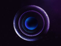 3D abstract space planets illustration. Futuristic ui and film design Royalty Free Stock Photos