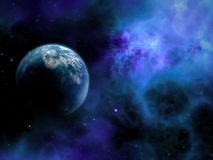 3D abstract space scene with fictional planet. 3D render of an abstract space scene with fictional planet vector illustration