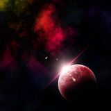 3D abstract space scene. 3D render of an abstract space scene with fictional planets Stock Photography