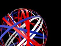 3d abstract sphere of rings. 3d sphere of blue, red and white rings. 3d render illustration stock illustration