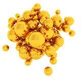 3d Abstract Spheres. 3d rendering gold Abstract Spheres Royalty Free Stock Image