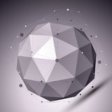3D abstract spherical object with lines and dots over dark backg Stock Photos