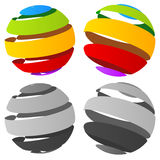 3d abstract striped sphere in four version Royalty Free Stock Images
