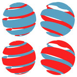 3d abstract striped sphere in four version Royalty Free Stock Photo