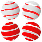 3d abstract striped sphere in four version Royalty Free Stock Image