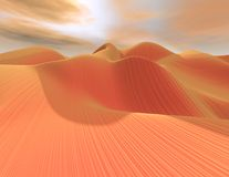 3d abstract surreal landscape with dunes in desert. 3d abstract surreal landscape with dunes and sky Stock Image