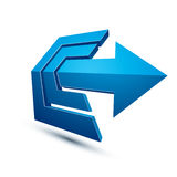 3d abstract symbol with an arrow. Business strategy theme vector Stock Photos