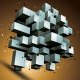 3D  abstract technology illustration, perspective geometri Stock Photos