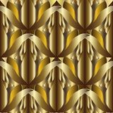 3d abstract textured gold vector seamless pattern. Ornate patter. Ned ornamental  amazing background.  Vintage 3d flowers. Beautiful ornaments. Surface golden Royalty Free Stock Photos
