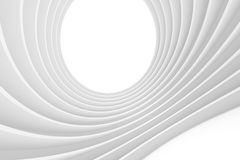 3d Abstract Tunnel Background. White Circular Building Stock Illustration