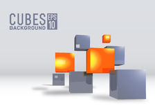 3d abstract vector digital cubes background. Realistic perspective elements design concept illustration Stock Photography