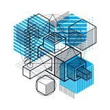 3d abstract vector isometric background. Layout of cubes, hexago. Ns, squares, rectangles and different abstract elements Royalty Free Stock Photography