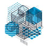 3d abstract vector isometric background. Layout of cubes, hexago. Ns, squares, rectangles and different abstract elements Royalty Free Stock Photo