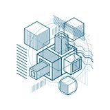 3d abstract vector isometric background. Layout of cubes, hexago. Ns, squares, rectangles and different abstract elements Stock Images