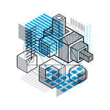 3d abstract vector isometric background. Layout of cubes, hexago. Ns, squares, rectangles and different abstract elements Royalty Free Stock Images