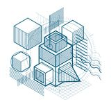 3d abstract vector isometric background. Layout of cubes, hexago. Ns, squares, rectangles and different abstract elements Stock Photo