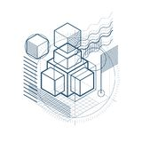 3d abstract vector isometric background. Layout of cubes, hexago. Ns, squares, rectangles and different abstract elements Royalty Free Stock Image