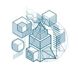 3d abstract vector isometric background. Layout of cubes, hexago. Ns, squares, rectangles and different abstract elements Stock Photography