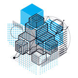 3d abstract vector isometric background. Layout of cubes, hexago. Ns, squares, rectangles and different abstract elements Stock Image