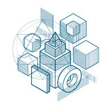 3d abstract vector isometric background. Layout of cubes, hexago Royalty Free Stock Images