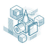 3d abstract vector isometric background. Layout of cubes, hexago. Ns, squares, rectangles and different abstract elements Stock Photos
