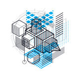 3d abstract vector isometric background. Layout of cubes, hexago. Ns, squares, rectangles and different abstract elements Royalty Free Stock Photos