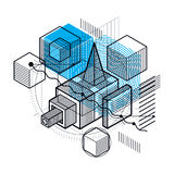 3d abstract vector isometric background.. Layout of cubes, hexagons, squares, rectangles and different abstract elements Stock Image