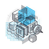 3d abstract vector isometric background. Layout of cubes. 3d abstract vector isometric background. Layout of cubes, hexagons, squares, rectangles and different Stock Photos