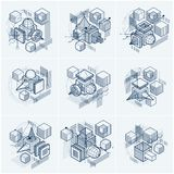 3d abstract vector isometric backgrounds. Layouts of cubes, hexa. Gons, squares, rectangles and different abstract elements. Vector collection Stock Image