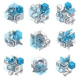 3d abstract vector isometric backgrounds. Layouts of cubes, hexa. Gons, squares, rectangles and different abstract elements. Vector collection Stock Photo