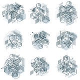 3d abstract vector isometric backgrounds. Layouts of cubes, hexa. Gons, squares, rectangles and different abstract elements. Vector collection Stock Images