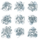3d abstract vector isometric backgrounds. Layouts of cubes, hexa Royalty Free Stock Photos