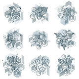 3d abstract vector isometric backgrounds. Layouts of cubes, hexa. Gons, squares, rectangles and different abstract elements. Vector collection Royalty Free Stock Photos