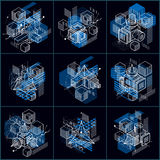 3d abstract vector isometric backgrounds. Layouts of cubes, hexa. Gons, squares, rectangles and different abstract elements. Vector collection Royalty Free Stock Photography